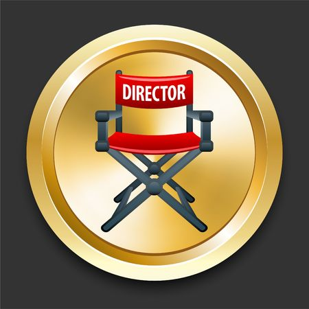Director Chair on Golden Internet Button Original Illustration illustration