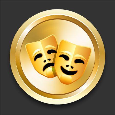 Comedy and Tragedy Masks on Golden Internet Button Original Illustration illustration