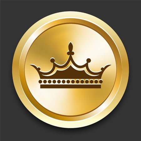 king crown: Crown on Golden Internet Button Original Illustration Stock Photo