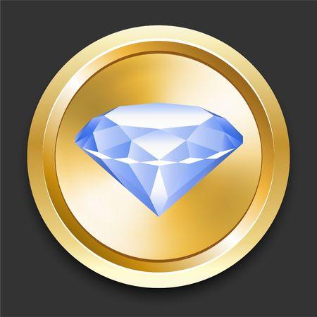Diamond on Golden Internet Button Original Illustration