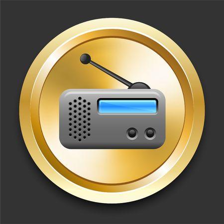 Radio on Golden Internet Button Original Illustration