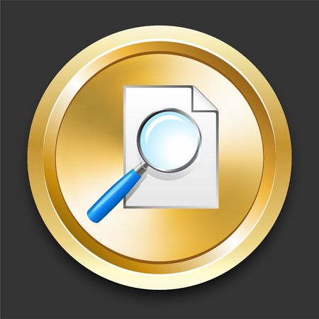 Magnifying Glass on Golden Internet Button Original Illustration illustration