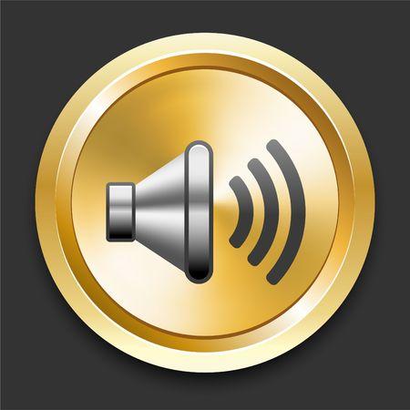 Speaker on Golden Internet Button Original Illustration illustration