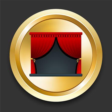 黄金のインターネット ボタンをステージオリジナル イラスト 写真素材