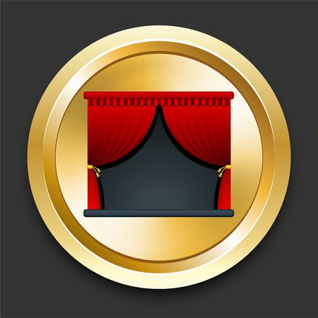 Stage on Golden Internet Button Original Illustration Zdjęcie Seryjne