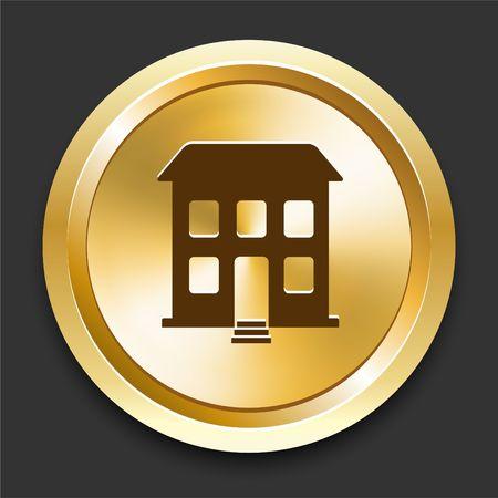 Building on Golden Internet Button Original Illustration