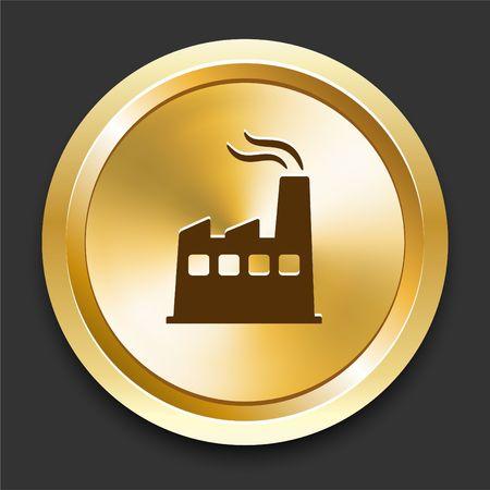 Factory on Golden Internet Button Original Illustration