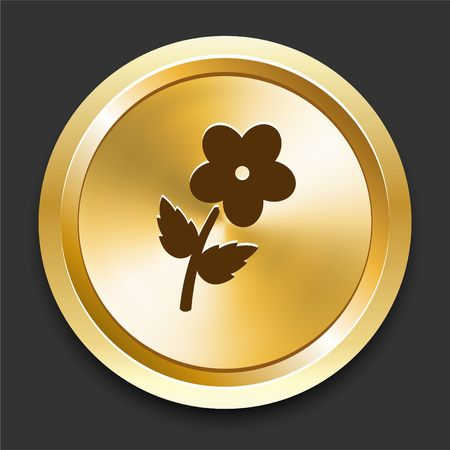 Flower on Golden Internet Button Original Illustration Stock fotó