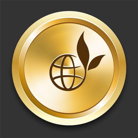 Globe on Golden Internet Button Original Illustration
