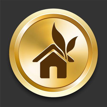 House on Golden Internet Button Original Illustration illustration