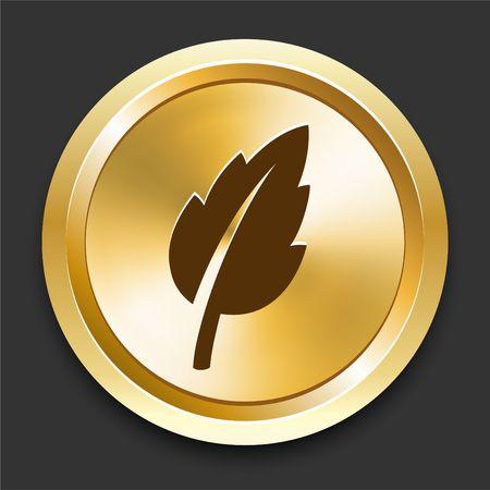 Leaf on Golden Internet Button Original Illustration