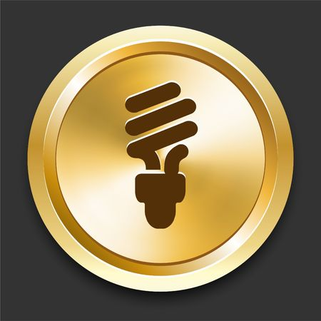Light Bulb on Golden Internet Button Original Illustration