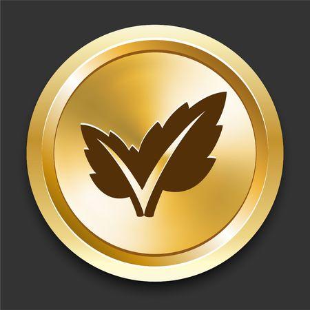 Plant on Golden Internet Button Original Illustration Stock fotó