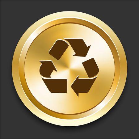 Recycle Symbol on Golden Internet Button Original Illustration