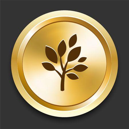 Tree on Golden Internet Button Original Illustration