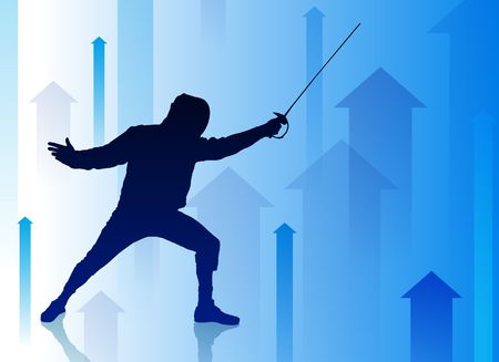 blade: Fencer on Abstract Arrow Background Original Illustration Stock Photo
