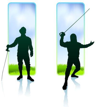 Fencer on Nature Banners Original Illustration Imagens