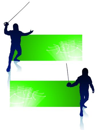 Fencer on Abstract Banners Original Illustration illustration