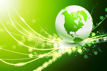 green lines: Globe on Abstract Modern Light Background Original Illustration