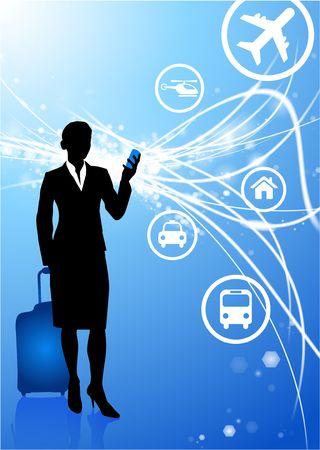 businesswoman on Abstract Modern Light Background Original Illustration illustration