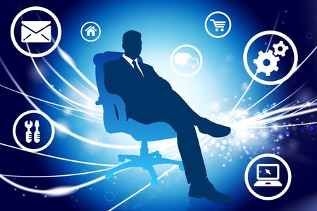 Businessman on Abstract Modern Light Background Original Illustration illustration