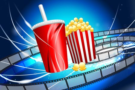 ight: Popcorn and Soda on Abstract Modern Light Background Original Illustration Stock Photo