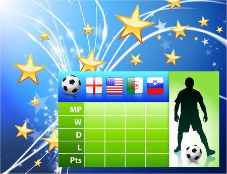 Soccer Player on Abstract Modern Light Background Original Illustration illustration