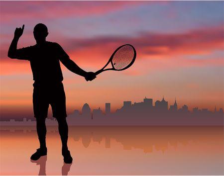 ny: Tennis Player on Sunset Background with Skyline Original Illustration
