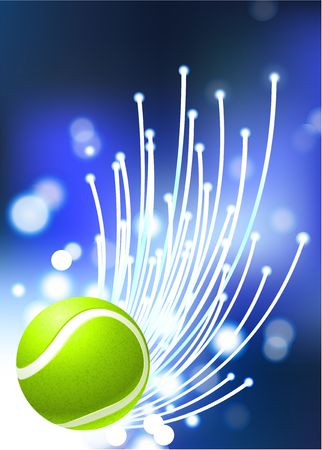 Tennis Ball on Abstract Internet Background Original Illustration