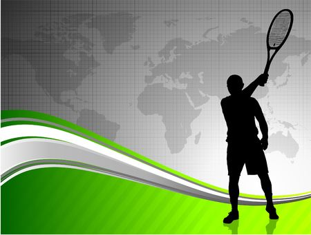 backhand: Tennis Player with World Map on Abstract Background Original Illustration
