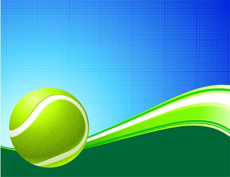 backhand: Tennis Ball on Abstract Internet Background Original Illustration