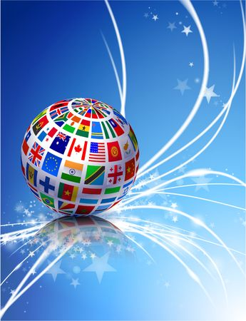 Flag Globe on Abstract Modern Light Background Original Illustration illustration