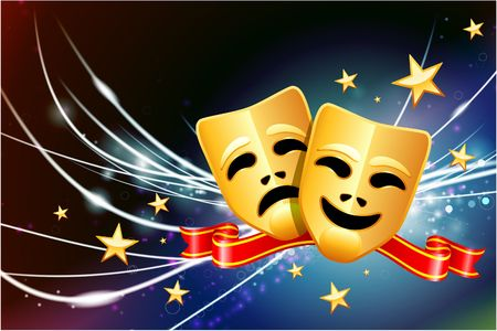 Comedy and Tragedy Masks on Abstract Modern Light Background Original Illustration illustration