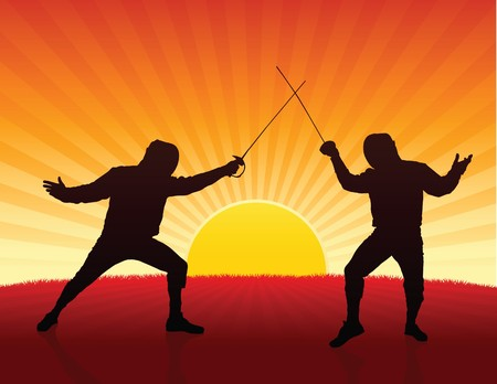 fender: Fencer on Sunset Background Original Illustration