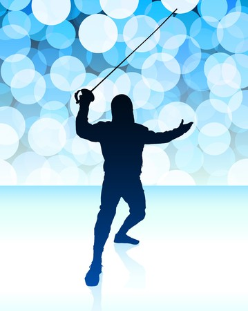 fender: Fencer on Blue Lens Flare Background Original Illustration