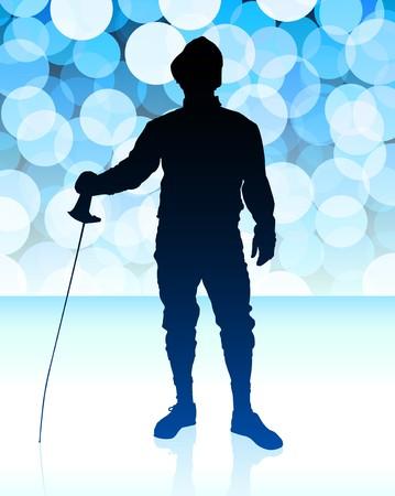 Fencer on Blue Lens Flare BackgroundOriginal Illustration Stock Illustration - 6891772