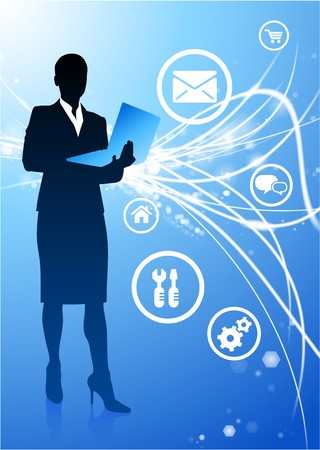 businesswoman on Abstract Modern Light Background Original Illustration illustration