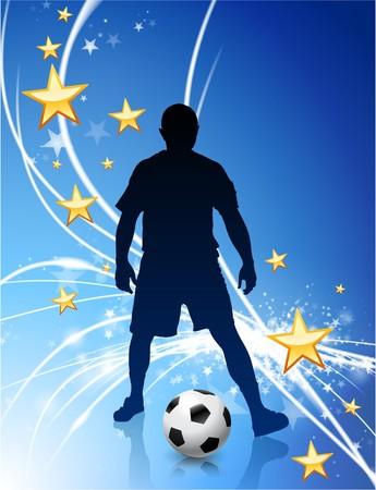 Soccer Player on Abstract Modern Light BackgroundOriginal Illustration Stock Illustration - 6891788