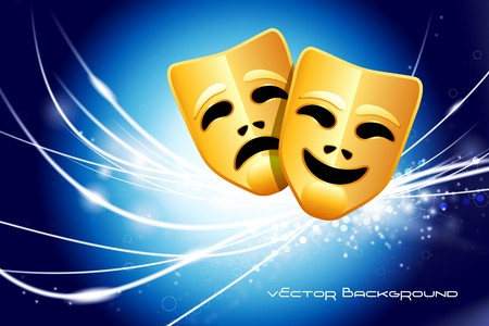 comedy: Comedy and Tragedy Masks on Abstract Modern Light Background Original Illustration