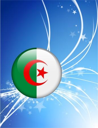 Algeria Flag Button on Abstract Modern Light Background Original Illustration illustration