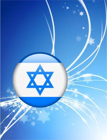 Israel Flag Button on Abstract Modern Light Background Original Illustration illustration
