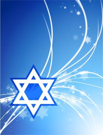 Star of David on Abstract Modern Light BackgroundOriginal Illustration 写真素材