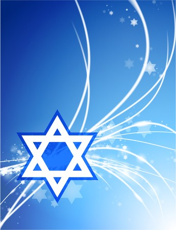 white star line: Star of David on Abstract Modern Light Background Original Illustration