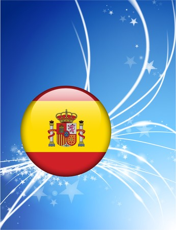 Spain Flag Button on Abstract Modern Light Background Original Illustration