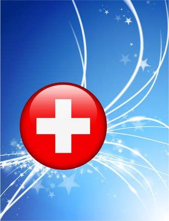 Switzerland Flag Button on Abstract Modern Light Background Original Illustration