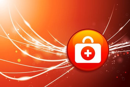 First Aid Kit Button on Red Abstract Light Background Original Illustration