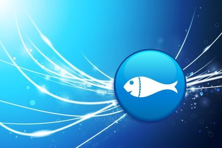 Fish Button on Blue Abstract Light Background Original Illustration illustration