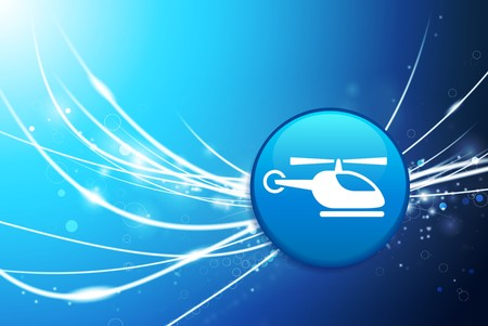 Helicopter Button on Blue Abstract Light Background Original Illustration illustration