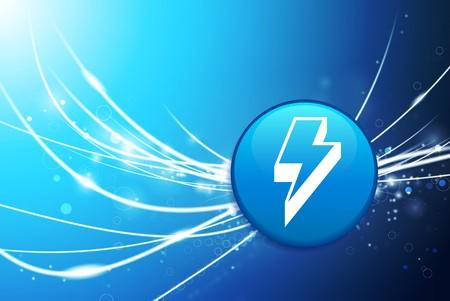 Lightning Button on Blue Abstract Light Background Original Illustration