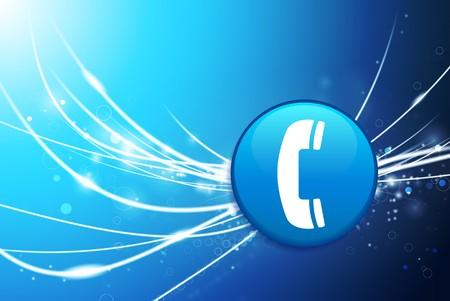 Phone Button on Blue Abstract Light Background Original Illustration illustration